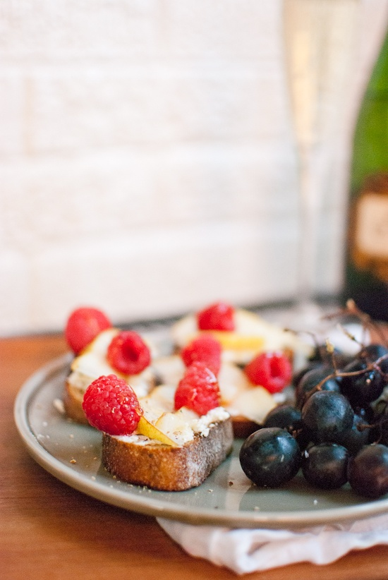 Pear, Raspberry and Goat Cheese Crostini. The perfect late summer breakfast or a snack or appetizer or dinner or whatever!