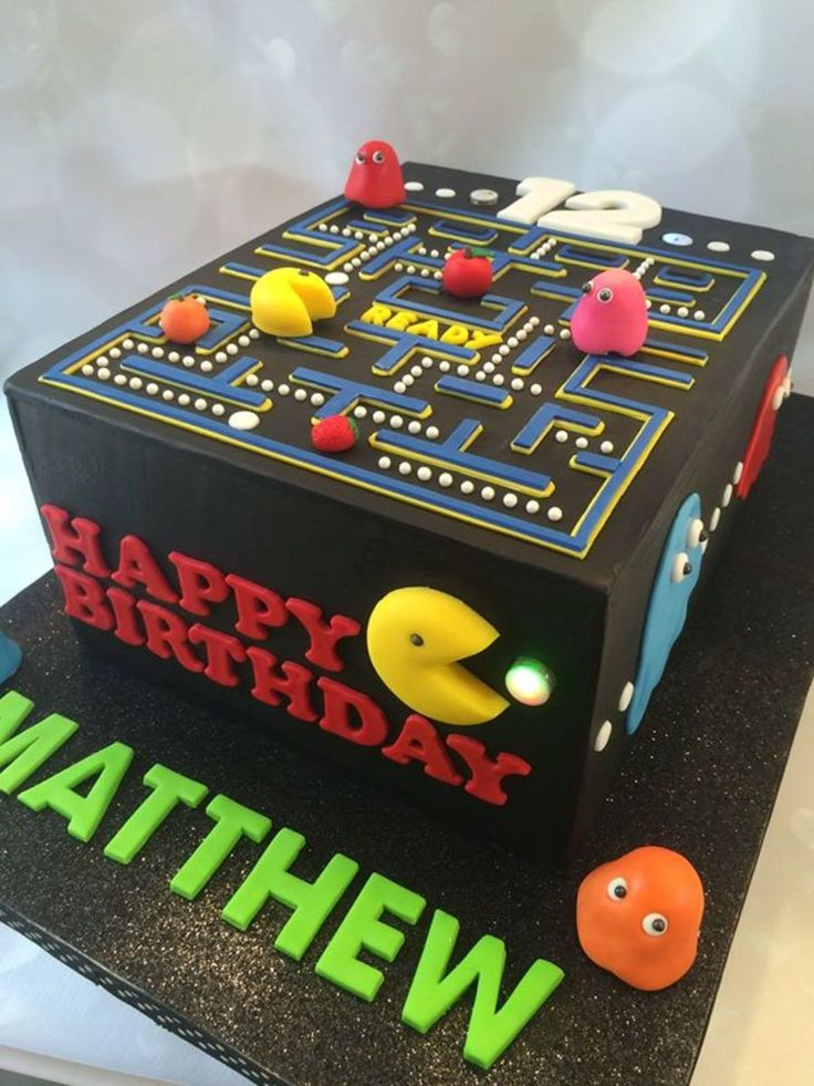 Pacman birthday cake made to mimic the electronic game. All...