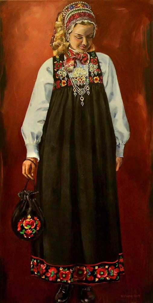 "Young woman from Hallingdal wearing national costume. ""Ung kvinne fra Hallingdal"". Kari Wang art.  Akrylic on canvas 60x120 cm."