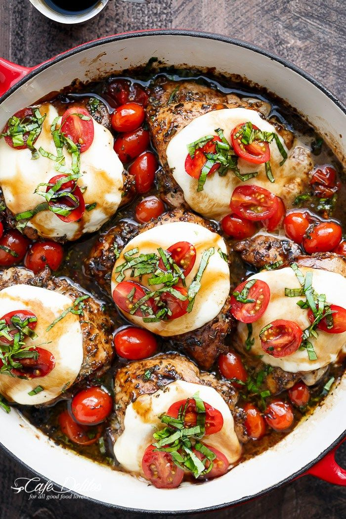 Caprese Chicken cooked right in a sweet, garlic balsamic glaze with juicy cherry tomatoes, fresh basil and topped with melted mozzarella cheese!