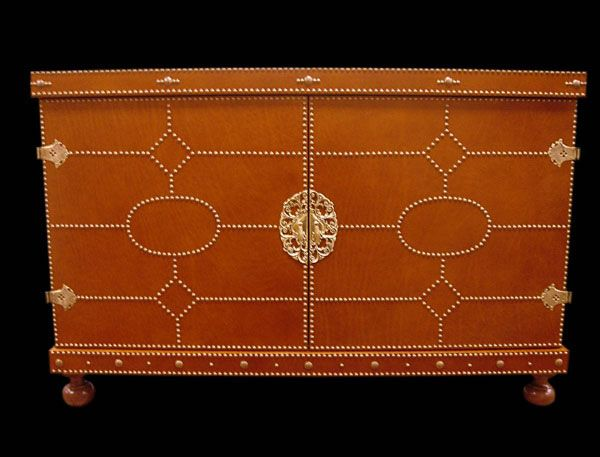 Leather With Nailhead Trim....could Be Good Accent Piece.