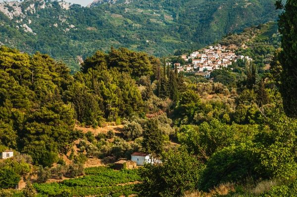 Manolates village in the mountains of Samos