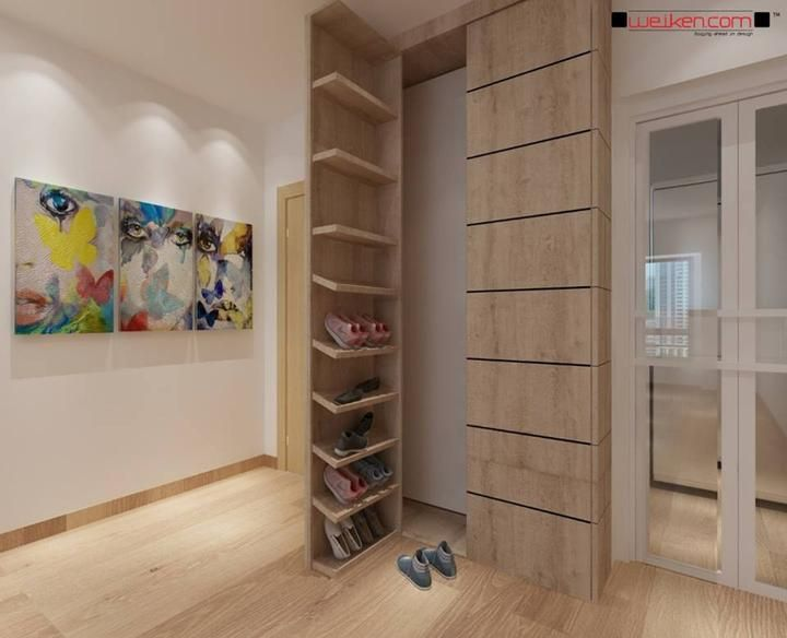 Shoe Cabinet 119w x 91d x 258h *double shelving *integrate hallway cabinet + upper storage *??integrate lower cat WC??