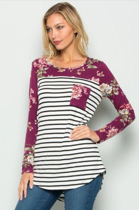 Regina- purple long sleeve floral stripe