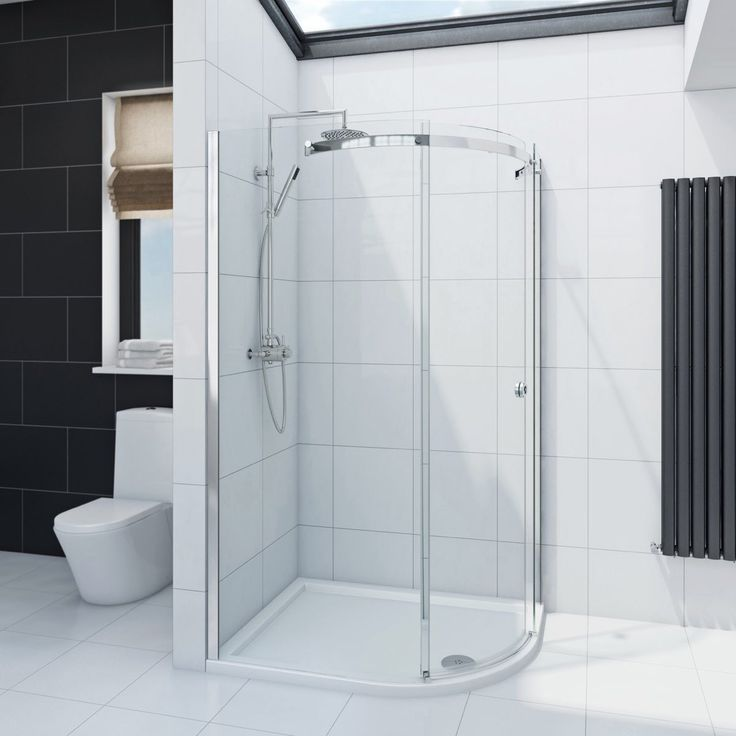 See our Infiniti 8mm One Door Offset Quadrant Shower Enclosure 1000 x 800 RH plus many more Curved Shower Enclosures at VictoriaPlum.com