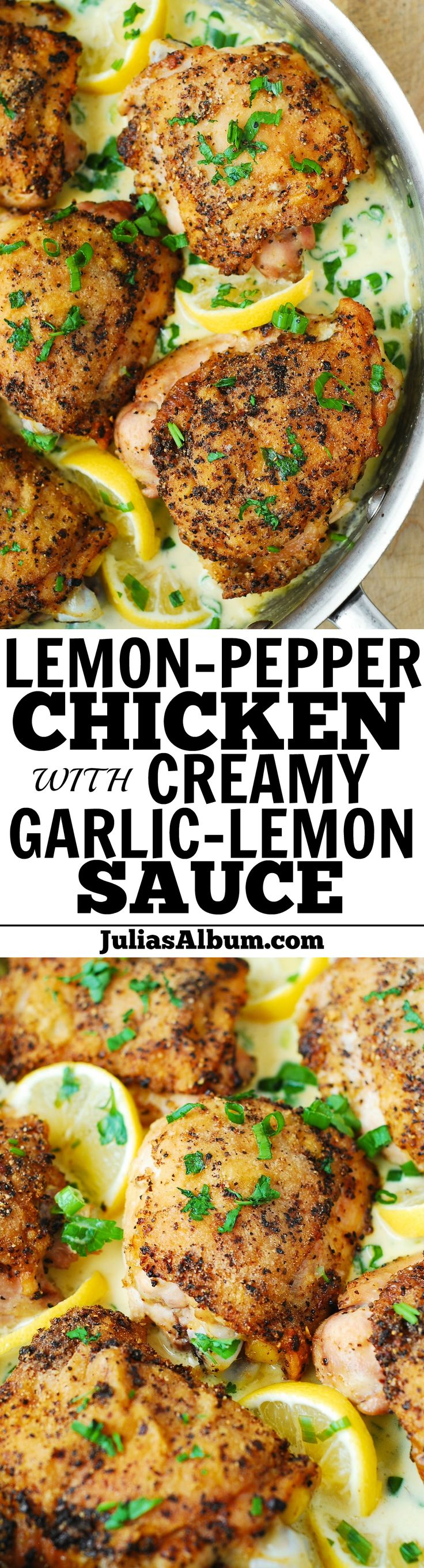 Baked Lemon-Pepper Chicken Thighs with creamy white cheese garlic-lemon sauce.