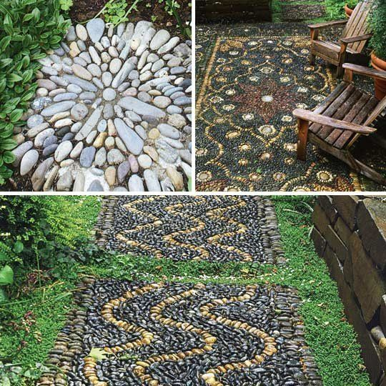 Outdoor 'Rugs' That Literally Rock  Fine Gardening  Each Beach Stone piece is created by hand using river rocks that are washed and polished before affixing to plastic netting