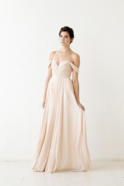 Off-the-shoulder gown: http://www.stylemepretty.com/lookbook/designer/sarah-seven/ #SMPLookBook