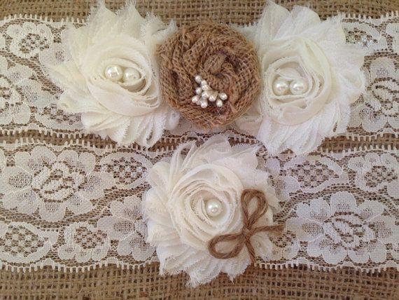 Wedding garter - Burlap Garter Set- Rustic Garter- Fall Wedding Garter