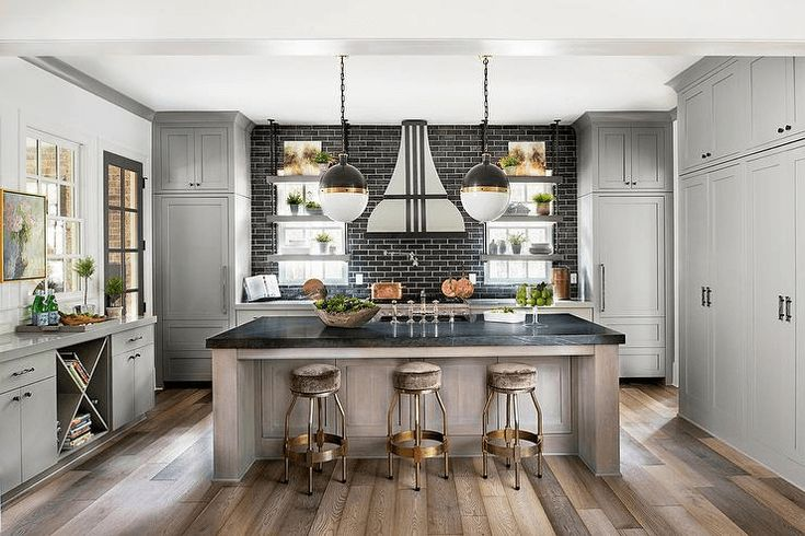 Glossy Black Marble kitchen island countertop #kitchenislandideas
