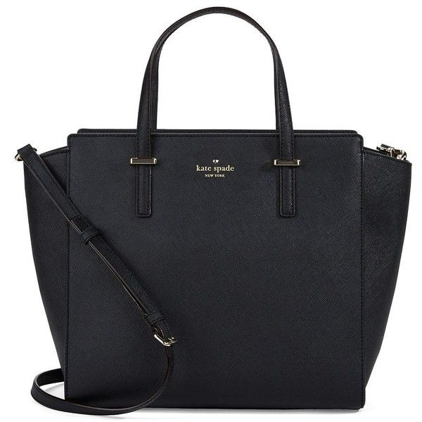 Women's Kate Spade New York Hayden Leather Tote Bag Black (£240) found on Polyvore featuring bags, handbags, tote bags, purses, accessories, black, black purse, black leather purse, kate spade purses and leather handbags