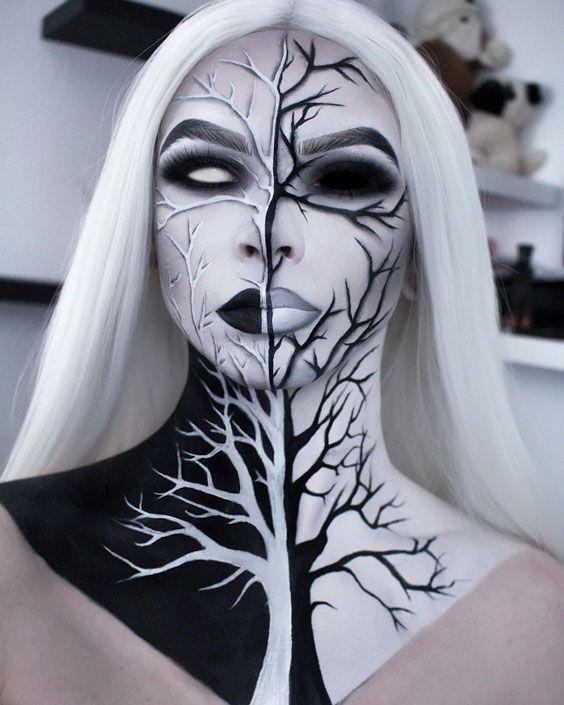 Withered Mocohrome Tree #haloween #halloweenmakeup #makeup #halloweenmakeupideas