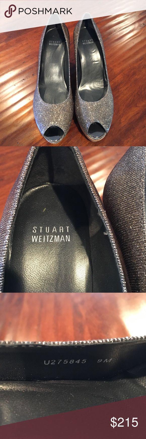 Stuart Weitzman metallic wedge heels Beautiful shoe, worn to one event, peep toe cork heel, ready to wear for spring or summer, casual or dressy Stuart Weitzman Shoes Wedges