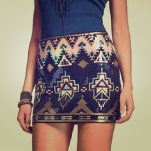 Express Aztec skirt Express Aztec skirt. Perfect condition. worn once New Year's Eve. Express Skirts Mini