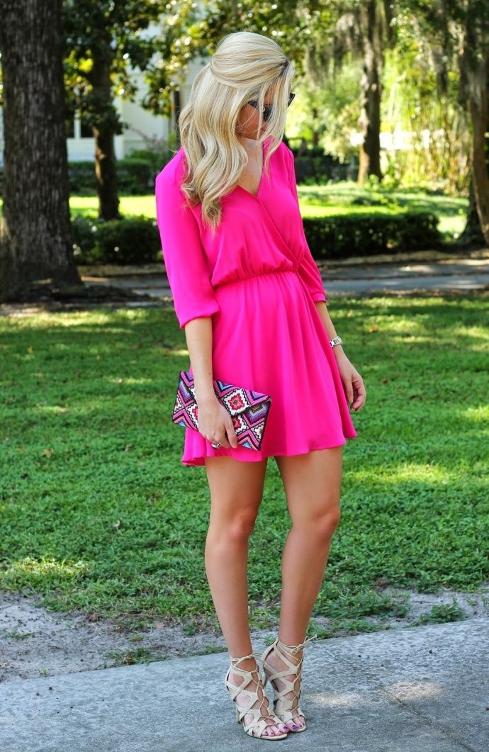 cute hot pink wedding guest style