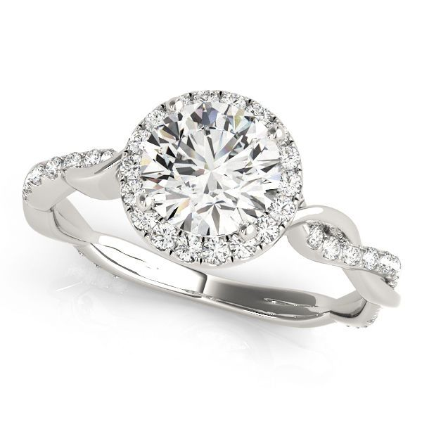 Diamond Halo Engagement Ring with Diamond Twist Band - 1.33cttw #SolitairewithAccents
