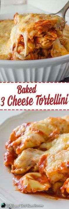 Baked 3 Cheese Tortellini - So Easy and Perfect for Busy Days! from http://dishesanddustbunnies.com