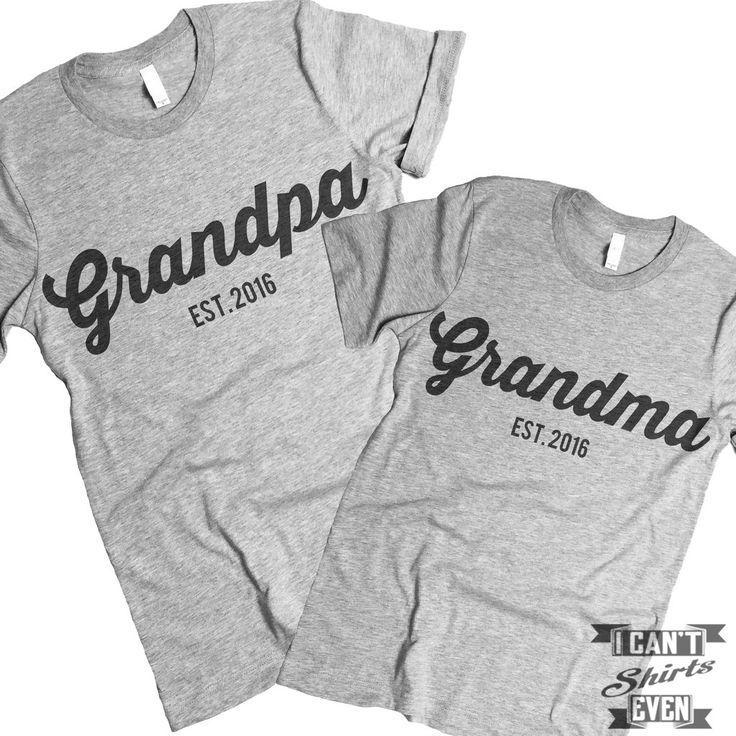 Grandpa Est. Grandma Est. 2016 T Shirts.