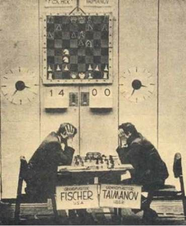 Bobby Fischer plays Mark Taimanov in the last game of the Vancouver match, 1 July, 1971.