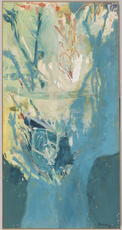 Helen Frankenthaler (1928-2011) was een Amerikaanse schilderes. Frankenthaler maakte deel uit van de avant-gardistische groepering van het abstract expressionisme en werd een belangrijke vertegenwoordiger van de lyrische abstractie en Colorfield Painting. In 1950 zag zij Pollocks werken, het opende haar de ogen voor de door Pollock gebruikte technieken en zij wist, dat zij zo wilde schilderen.