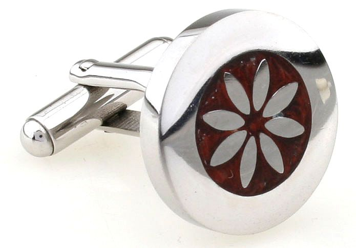You definitely won't be ignored wearing these premium cufflinks. The 8 petaled flower in stainless steel, inlaid in polished rosewood, surrounded by a wide band of stainless steel, creates a timeless cufflink of distinction.