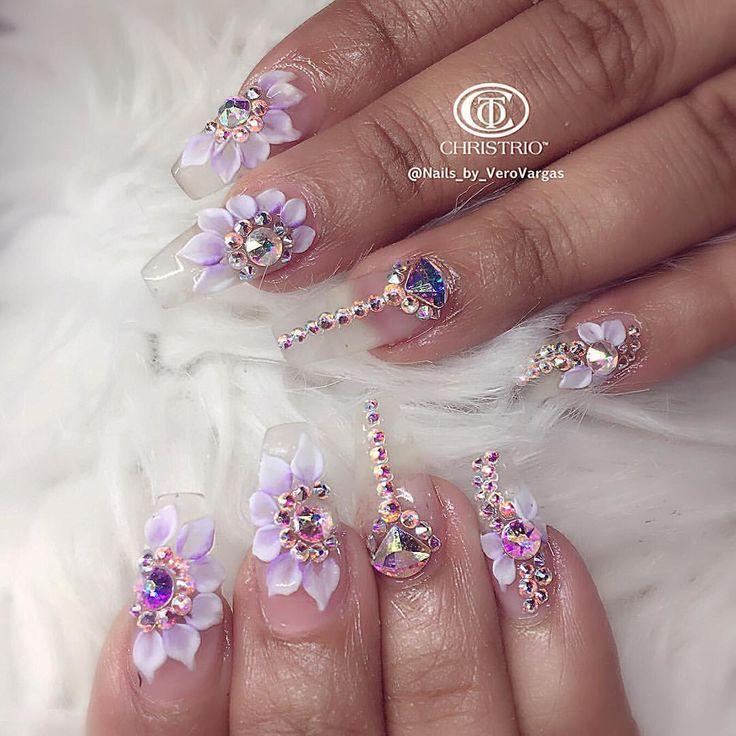 Clear, 3D flowers, Swarovski stones nail art