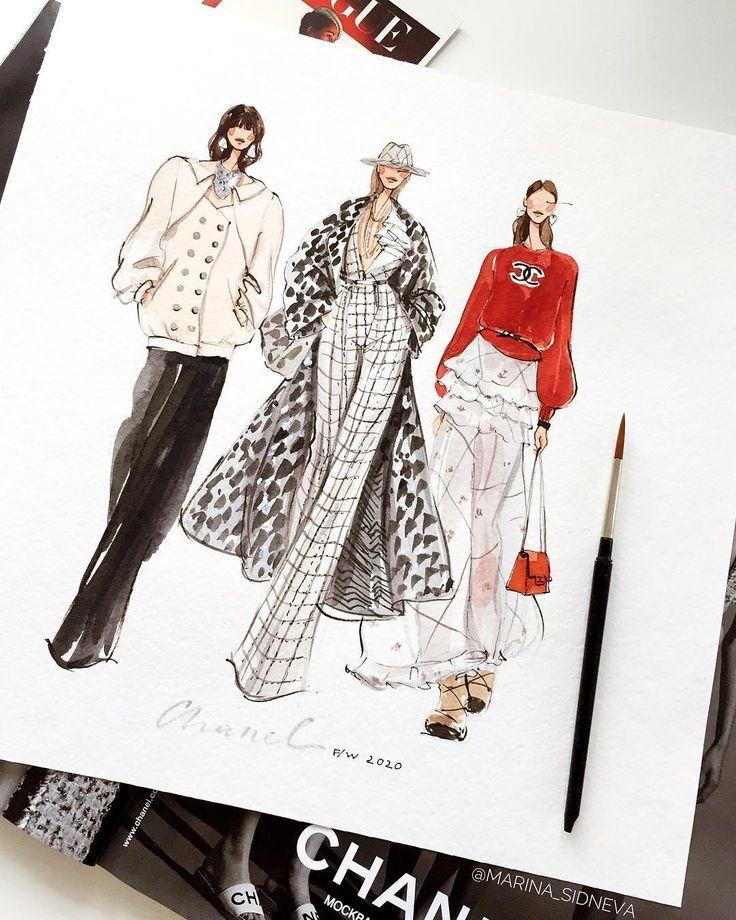 Fashion Illustrator Artist On Instagram Chanel Marinasidneva Art Marinasidn In 2020 Illustration Fashion Design Fashion Design Sketches Fashion Art Illustration