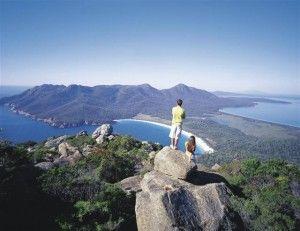 Overlooking Wineglass Bay on the east coast of Tasmania.
