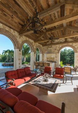 This covered outdoor space has an amazing reclaimed wood ceiling and the kitchen/bar area is built-in seamlessly. #miamioutdoor #miamirealestate www.glynisfalconette.keyes.com