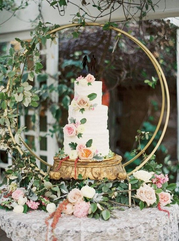 10 Gorgeous Wedding Cakes With Hoop Stand And Decorations Oh Best Day Ever Wedding Cake Holders Cake Backdrops Floral Wedding Cakes