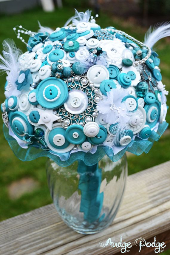 Teal and White Button & Broach Bridal Wedding Bouquet DEPOSIT