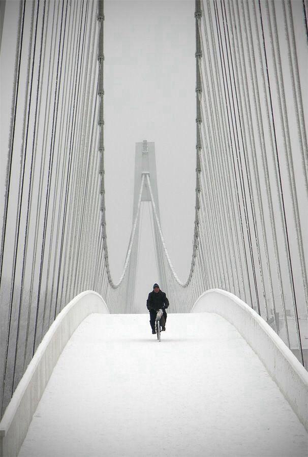 Snowbiker. Pedestrian bridge in Osijek, Croatia