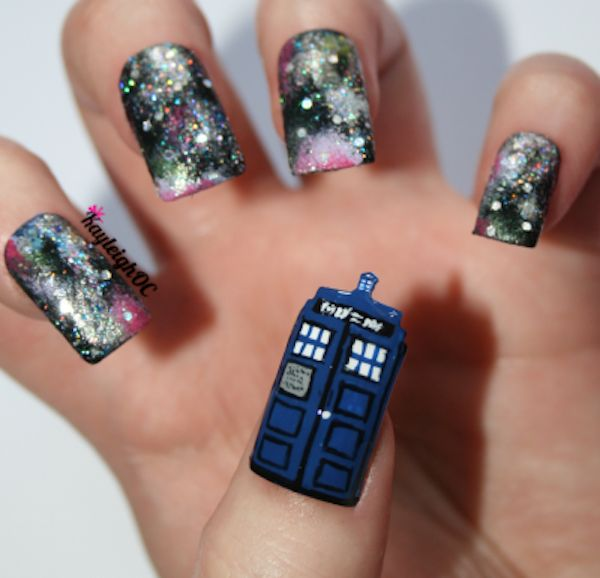 Tardis and space manicure. This would totally be wasted on me because I'd wreck it immediately, but this is very cool.
