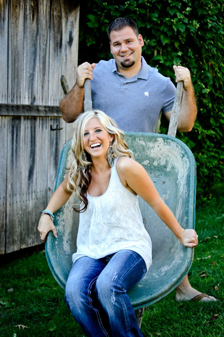Country Chic Engagement Session With Wheelbarrow Prop