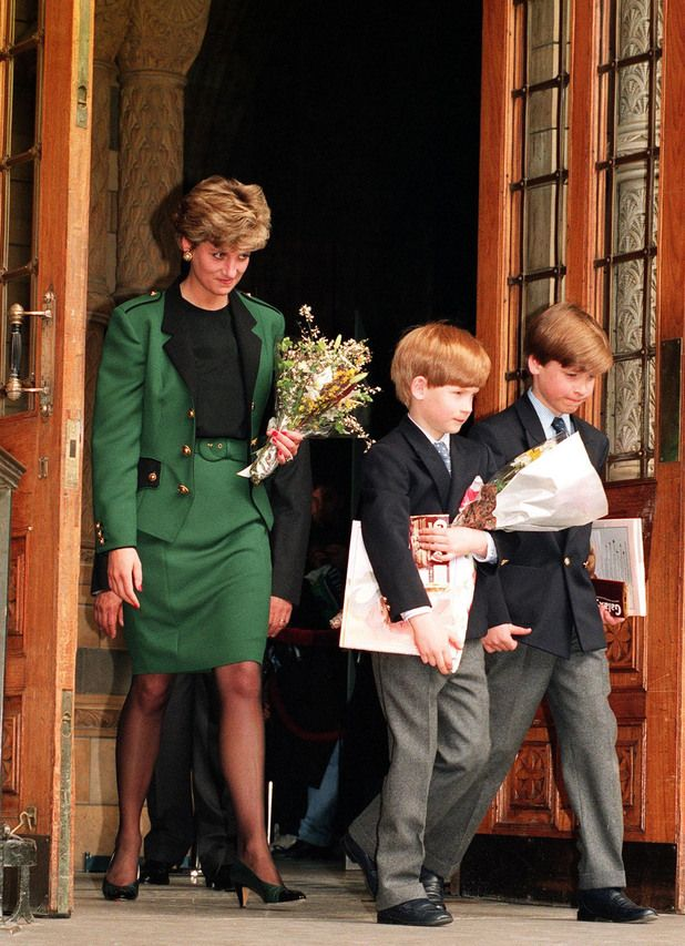 Princess of Wales and her two sons Prince Harry and Prince William leaving London's Natural History Museum after visiting the new dinosaurs exhibit in 1992.
