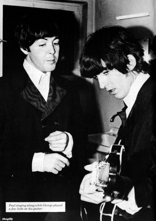 "thegilly:  "" Paul and George backstage in Munich, 24 June 1966. Scan from The Beatles Book Monthly No. 242.  """