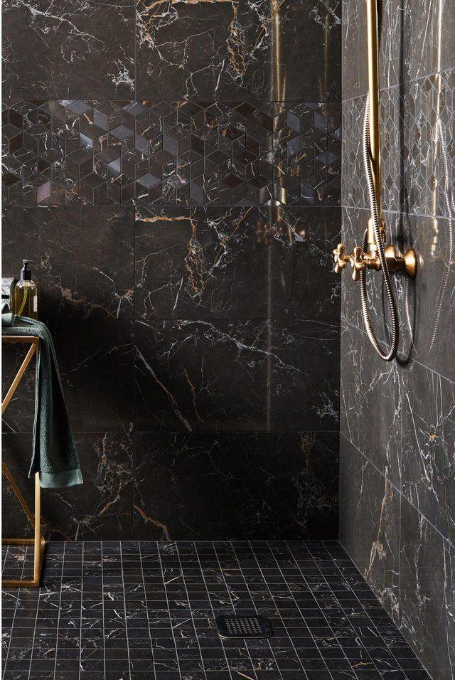 Carrelage Mur Noir Gold Brillante L 30 5 X L 56 Cm Murano Leroy