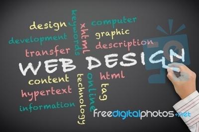 Hand Writing Web Design On Board