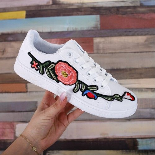 Tenisi dama Omigi albi cu imprimeu floral