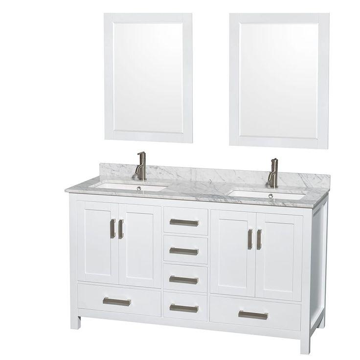 mirror size for 30 inch vanity. Wyndham Collection Sheffield White 60 inch Double Bathroom Vanity  Best 25 24 bathroom vanity ideas on Pinterest