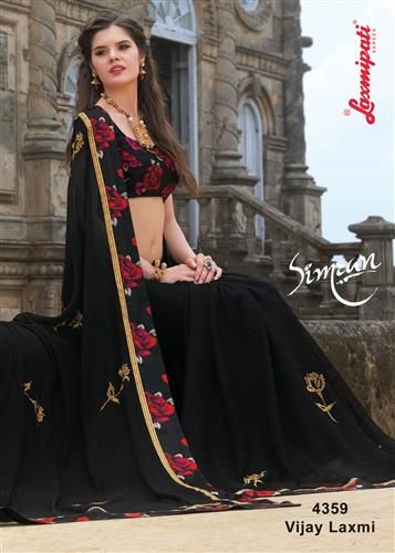 Buy this Stunning Black Chiffon Saree with Satin Black Silk Blouse along with Satin Silk Printed Lace Border by Laxmipati. Look fresh, look chic! Limited stock! 100% Genuine products! #Catalogue #Simran Price - Rs. 2654.00 Visit for more designs@ www.laxmipati.com #Sarees #‎ReadyToWear ‪#‎OccasionWear ‪#‎Ethnicwear ‪#‎FestivalSarees ‪#‎Fashion ‪#‎Fashionista ‪#‎Couture ‪#‎LaxmipatiSaree ‪#‎Autumn ‪#‎Winter ‪#‎Women ‪#‎Her ‪#‎She ‪#‎Mystery ‪#‎Lingerie ‪#‎Black ‪#‎Lifestyle ‪#‎Life…