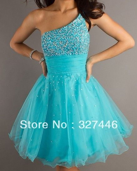 2013 Short Mini Sequin One Shoulder Pleats Backless Blue A Line Beads Custom Homecoming dresses $69.00