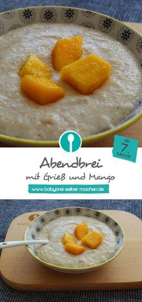 Abendbrei (Milch-Getreidebrei) mit Grieß und Mango. Rezept für Babys ab dem 7. Monat. Lässt sich auch prima mit TK-Mango zubereiten.