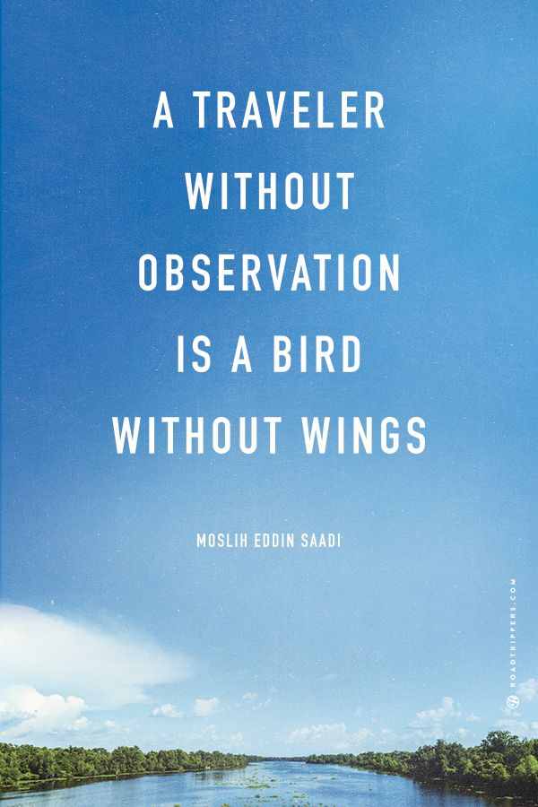 A traveler without observation is a bird without wings. ~Moslih Eddin Saadi  ||  Travel Quotes