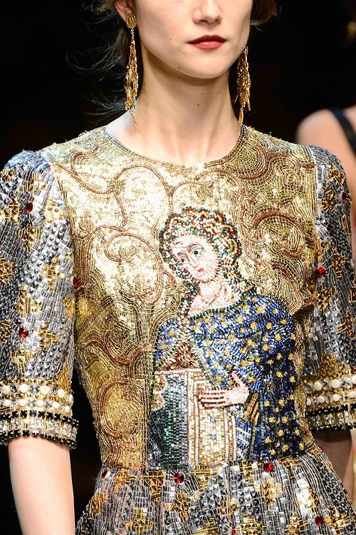 Dolce & Gabbana~ more Byzantine mosaic motifs in shimmery metallics from D&G