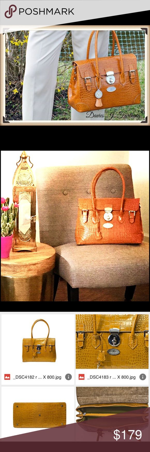 Davies J. Farthing Crocodile Bag Made in Italy This is our beautiful DJF Crocodile Handbag made in Italy. New York Style fashion for the run way. DJF leather handbags on SALE now Davies J. Farthing  Bags Shoulder Bags