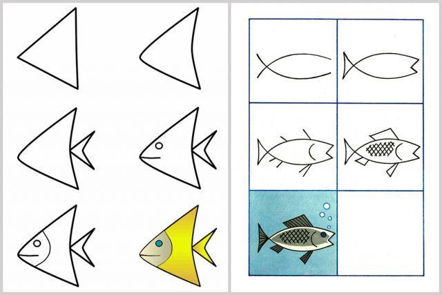 Les 23 meilleures images du tableau dessin facile sur pinterest bricolage comment dessiner et - Dessiner un poisson facilement ...