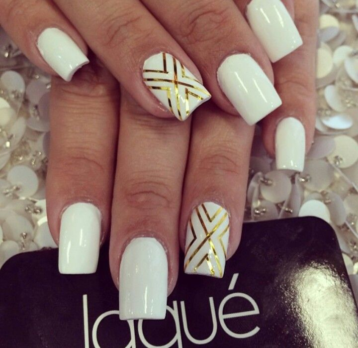 White And Silver For Prom Nail Ideas: White And Gold Nails