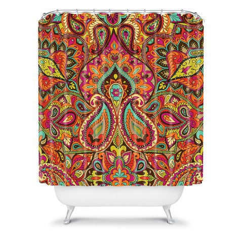 Aimee St Hill Paisley Orange Shower Curtain Design Boho