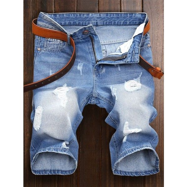 Zipper Fly Ripped Jean Shorts ($20) ❤ liked on Polyvore featuring men's fashion, men's clothing, men's shorts, mens distressed shorts, mens ripped jean shorts, mens distressed denim shorts, mens ripped shorts and mens ripped denim shorts